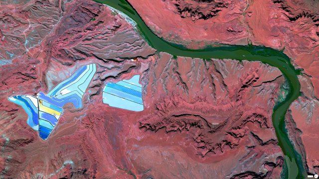 Settling ponds of Intrepid Potash mine - Moab, Utah, USA